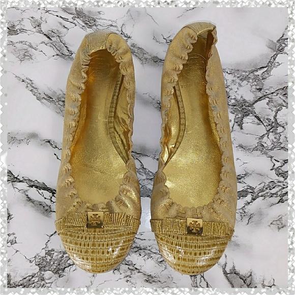 379109d8c Tory Burch Romy Leather Cap Toe Gold Ballet Flats.  M 5be555406197454e3d0b8f1f